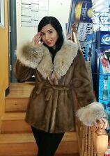 MOSCHINO Mink - Lynx Belly Fur Collar & Cuffs Trim Accent Jacket w/ Belt Sz S/M