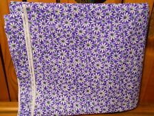 Fabric 1 Yard Crazy Daisy White Flower Green Center Purple Quilting Cotton