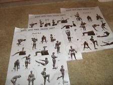 Bodybuilding Joe Weider 3 Super Power Training Course Wall Charts 1950s reprints