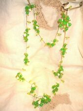 Retro 1960's Hard Plastic Flower Green Beads + White Tubes 102 cm Long LOVELY