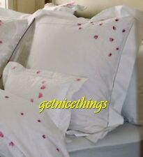 Yves Delorme Myriade 2 Pillow Shams White Embroidered Pink Cyclamen Floral New
