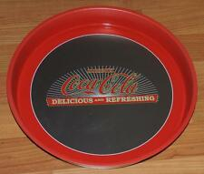 "NOS ""DRINK COCA~COLA DELICIOUS and REFRESHING"" ROUND METAL BAR TRAY 13"" x 1.75"""