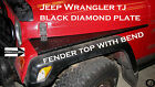 JEEP TJ black DIAMOND PLATE FULL TOP FENDER COVERS WITH BEND. SET OF 2