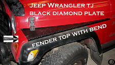 JEEP TJ black DIAMOND PLATE FULL TOP FENDER COVERS WITH BEND.      free shipping
