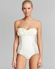 NWT JUICY COUTURE Prima Donna Ruffle Lacy Overlay Swim Bathing Suit Bandeau M