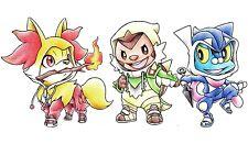 211 Pokemon 6th Gen Starters Fan Art CUSTOM PLAYMAT ANIME PLAYMAT FREE SHIPPING