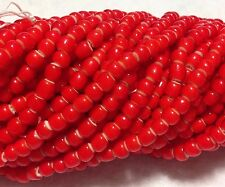 VTG Red Venetian White Heart Trade Beads, Approx. 4mm x 3mm and 200 Beads/Strand