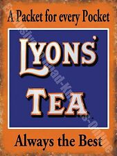 Lyons' Tea Drink Cafe Kitchen Old Vintage Shop Advertising Small Metal/Tin Sign