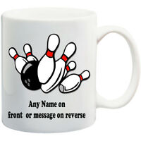 PERSONALISED MUG  * ANY NAME OR TEXT  * GIFT   10 PIN BOWLING