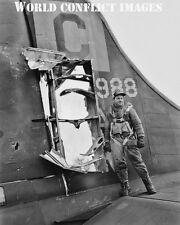 USAAF WW2 B-17 Bomber Tail Damage 8x10 Photo 96th BG WWII
