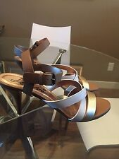 Lanvin Gold & White Strappy Sandals Size 38.5