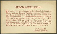 1923  Postal Card SPECIAL BULLETIN Board Commerce FATHER SON DINNER Detroit