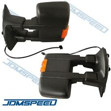 For 08-15 F250 F350 Manual Side Mirror W/ Amber Turn Signal Towing Mirrors Pair