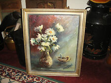 Vintage Flowers In Vase Oil Painting On Canvas-Signed A. Sobola Podhajsky-LQQK