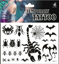 Halloween Temporary Body Tattoos SCORPION Bats Web Bugs Beetles Spider Ants