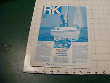 vintage paper item - RK 21 cabin cruiser double sided ad sheet