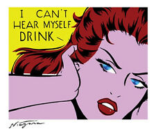 Rare I CAN'T HEAR MYSELF DRINK Sexy CCOMIC TICKER/Vinyl DECAL By Niagara Detroit