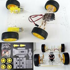 DIY Steering Engine 4 wheel 2 Motor Smart Robot Car Chassis Kit For Arduino