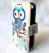 For iPod Touch 5th & 6th Gen - Leather Card Wallet Pouch Case Blue Flowers Owl