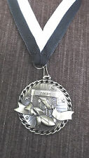 gold pinewood derby medal black & white neck drape cub scout trophy finish line