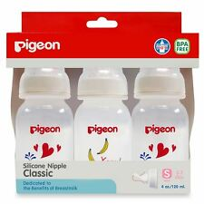 Pigeon Baby Bottle Nursing Classic Silicone Nipple Size S BPA Free 4 OZ. Pack3