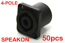 50 x 4-Pole Female Panel Mount Square Pro Speakon Connector Head Socket NL4FC