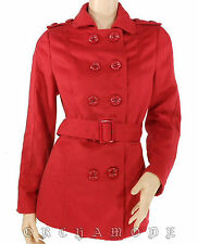 Manteau MISS LINA rouge Demi long ceinture  Taille S / 36 / 1  NEUF