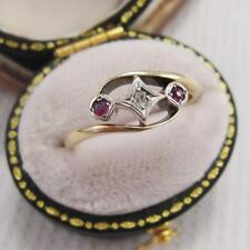 ART Deco Rubino E Diamante trilogia Anello Twist in 15ct Oro e Platino Taglia I