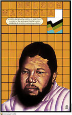 Political OSPAAAL Solidarity Anti-Apartheid poster.FREE Nelson Mandela.Africa 15