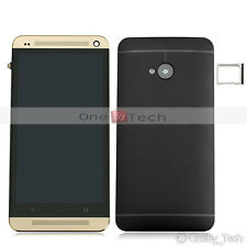 HTC One M7 Touch Digitizer+LCD Display Assembly Frame Gold+Battery Housing Cover