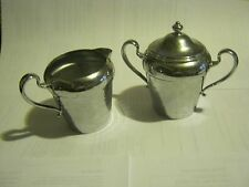 Vintage Cromwell Silver MFG Chromium Cream And Sugar Bowl (005-1)