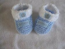 ❤ Hand knitted baby boys  prince booties  newborn