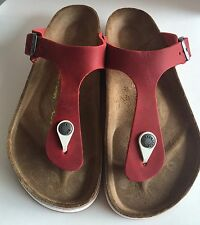 Birkenstock Gizeh 847491 size 37/L6~6.5 R Red Waxy Leather Thong  Sandals
