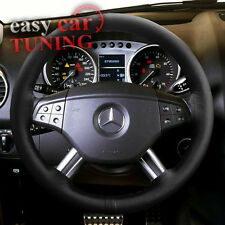 FOR MERCEDES-BENZ ML W164 BLACK REAL GENUINE 100% LEATHER STEERING WHEEL COVER