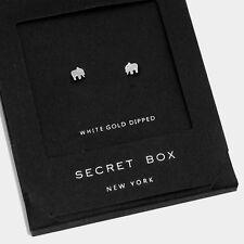 Elephant Earrings Tiny Secret Gift Box WHITE GOLD DIPPED Animal Post Stud Design