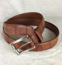 TARDINI Genuine Caiman Crocodile Brown Exotic Skin Belt Made in Italy Sz 36""