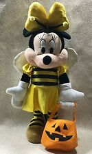 "Disney Halloween Minnie Mouse Weighted Plush Figure 22"" Bumble Bee Decoration"