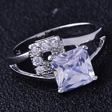 Shining fashion jewelry White Gold Filled Clear Crystal Womens Ring Size 5.5