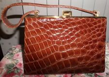 VINTAGE 50S 60S RAYNE BROWN CROCODILE LEATHER HANDBAG KELLY BAG
