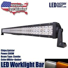 52INCH 300W LED WORKLIGHT BAR WHITE+AMBER COMBO DRIVING LAMP SUV UTE ATV OFFROAD