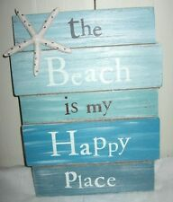 BEACH is My HAPPY PLACE Wooden Sign Rhinestone Starfish Beach House Beach Sign