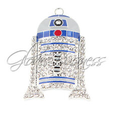 1PC 47x29mm Star Wars Robot Rhinestone Pendant Bubblegum Chunky Bead Necklace