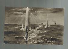 1918 Germany Postcard U Boat Submarine Deutschland at sea Under Attack