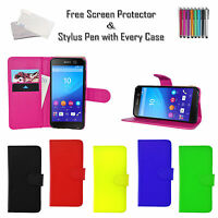 Book Wallet Flip Case Cover ID PU Leather Holder For Various Sony Xperia Phones