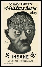 WW2 PROPAGANDA POSTER HITLER'S MAD BRAIN AXIS GERMANY BRITISH NEW A4 PRINT