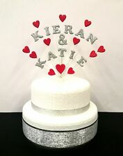 Personalised double name Engagement or Wedding Celebration Heart Cake Topper.
