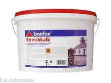 Baufan Streichkalk Kalkfarbe 5l f. innen u. außen mineralisch weiß