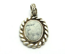 Sterling Silver .925 Large Chunky Rope Edge Oval Magnesite Pendant 10.2g #5500