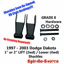 "1997 - 2003 Dodge Dakota 2wd 4wd 1"" 2in Lift Drop Shackles GRADE 8 Hardware"