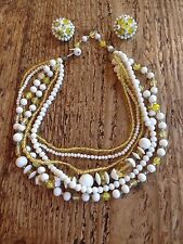 Vintage Lucite Flower Bead Cluster Necklace Earring Yellow White Silver Tone